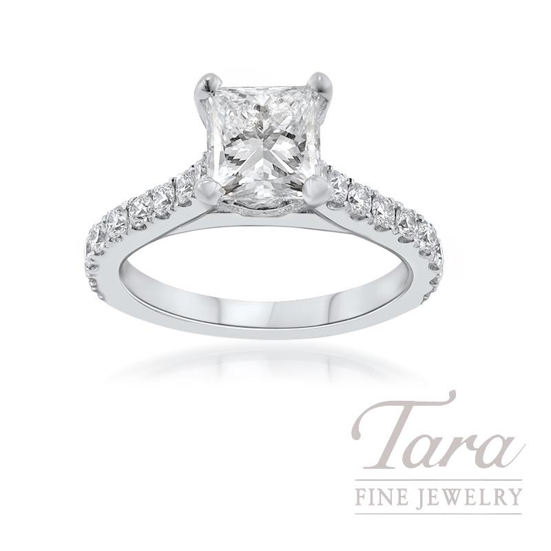 18K White Gold Princess Cut Diamond Engagement Ring, 1.70CT Princess Cut Diamond, 5.0G, .61TDW