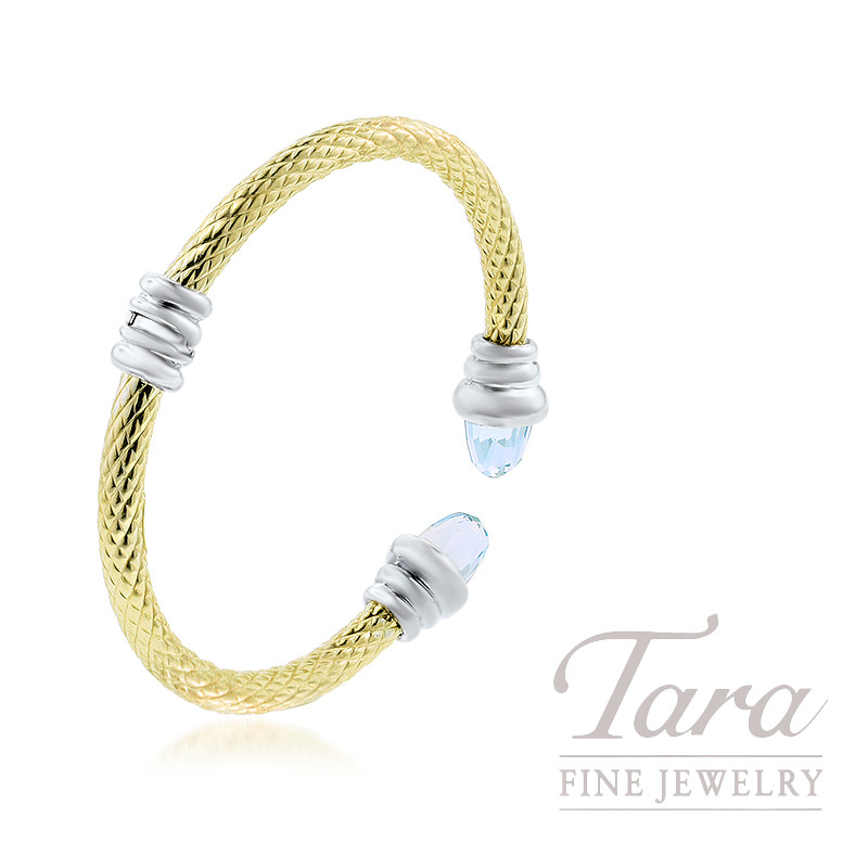 14K Yellow Gold and Sterling Silver Blue Topaz Bangle Bracelet, 17.3g