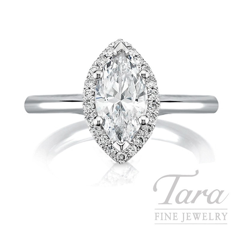 18K White Gold Marquise Diamond Halo Engagement Ring, 3.33G, .99CT Marquise, .14TDW (Center Stone Sold Separately)