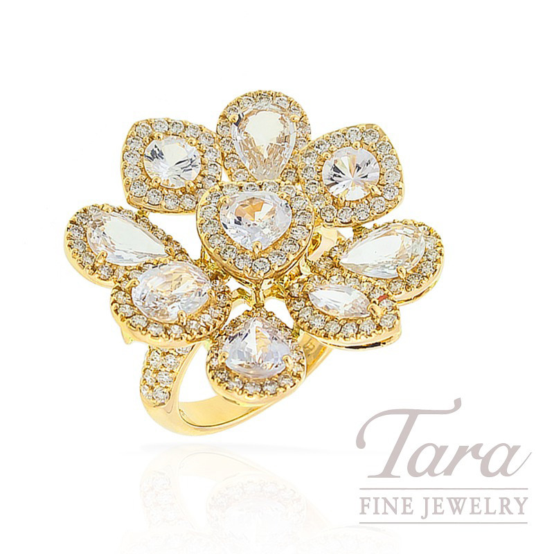 White Sapphire and Diamond Ring in 18k Yellow Gold, 1.76 TDW