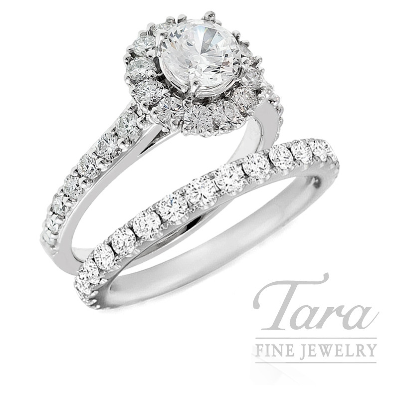 18K White Gold Diamond Halo Wedding Set, 1.07TDW (Center Stone Sold Separately)