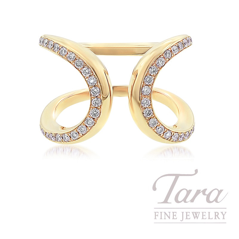 18k Yellow Gold Open-face Diamond Fashion Ring, 8.6G, .40TDW