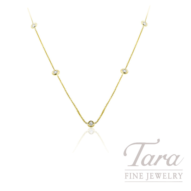 Roberto Coin 18k Yellow Gold Diamond Station Necklace, 2.4G, .25TDW