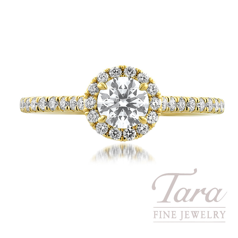 Forevermark 18K Yellow Gold Diamond Engagement Ring, 0.50CT. J-SI1 Forevermark Diamond, 36 Round Forevermark Diamonds 0.35TDW