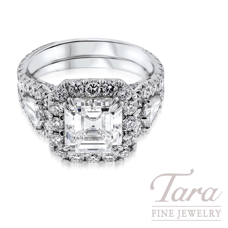 Asscher Cut Diamond Engagement Ring in Platinum 1.76TDW Round, .61TDW Shield Cut, 3.04CT Center