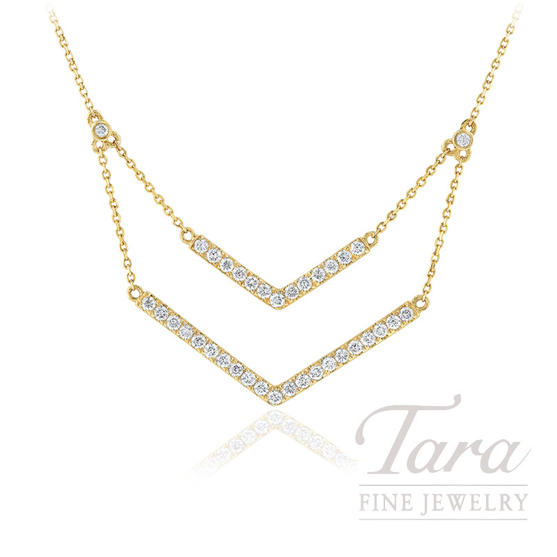 "18K Yellow Gold Diamond Layer Necklace, 16/18"" Chain, 4.9G, .80TDW"