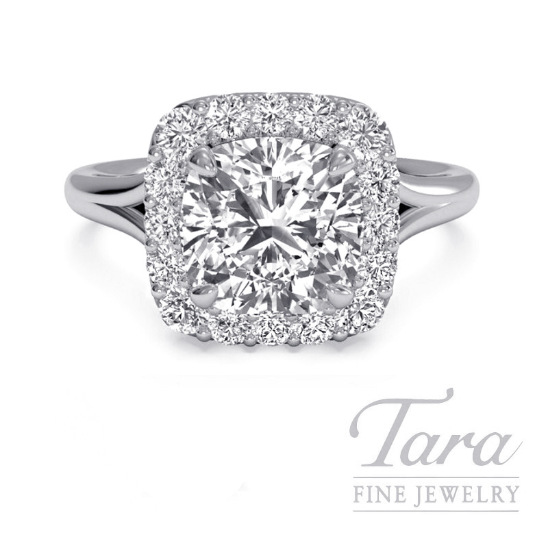 Ritani 18k White Gold Diamond Halo Engagement Ring, 3.4G, .22TDW (Center Stone Sold Separately)