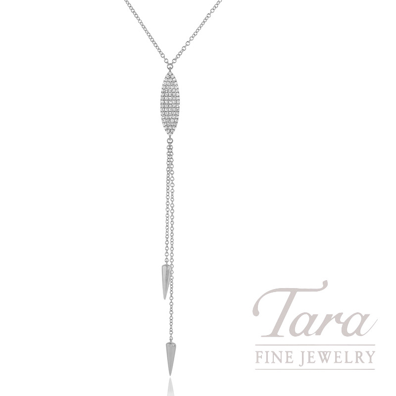 "18k White Gold Pave Diamond Lariat Necklace, 16/17/18"" Chain, 4.6G, .21TDW"