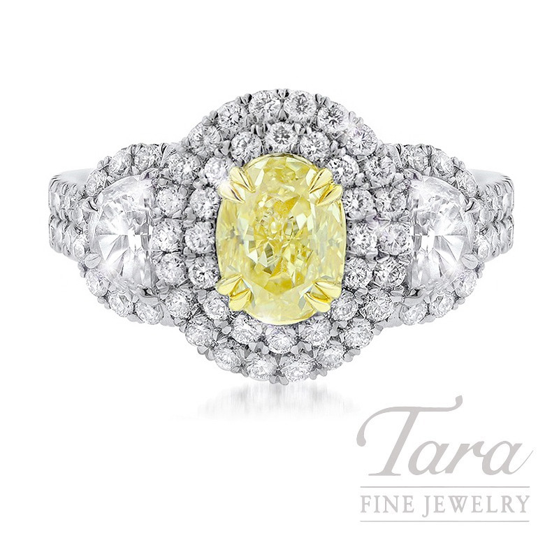 Platinum & 18K Yellow Gold Double Halo Fancy Yellow Diamond Ring, 9.8G, 1.17CT Fancy Yellow Diamond, 1.63TDW (Center Stone Sold Separately)