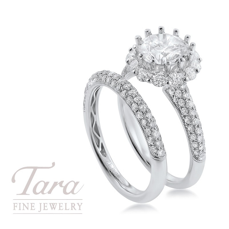 18K White Gold Diamond Halo Wedding Set, 1.47TDW (Center Stone Sold Separately)