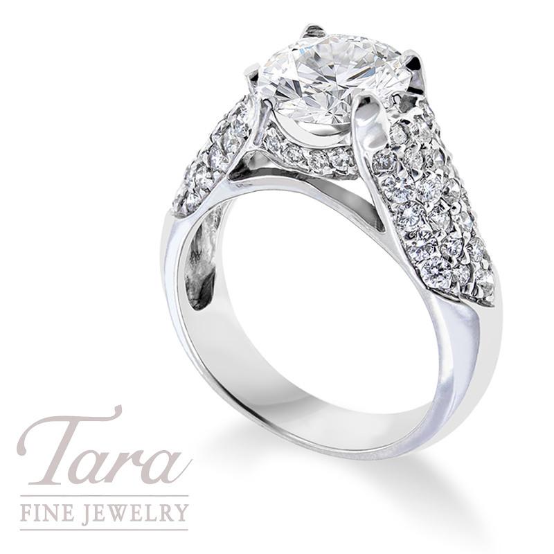 Diamond Engagement Ring in 18K White Gold, .73TDW