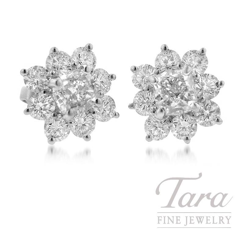 Forevermark 18K White Gold Flower-Shaped Earrings, 3.04TDW Center, 2.24TDW Halo