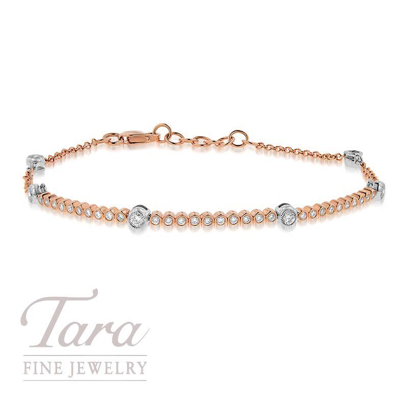 """Simon G 18K Rose and White Gold Diamond Bezel Bracelet, 7"""", 3.5g, .60TDW"""