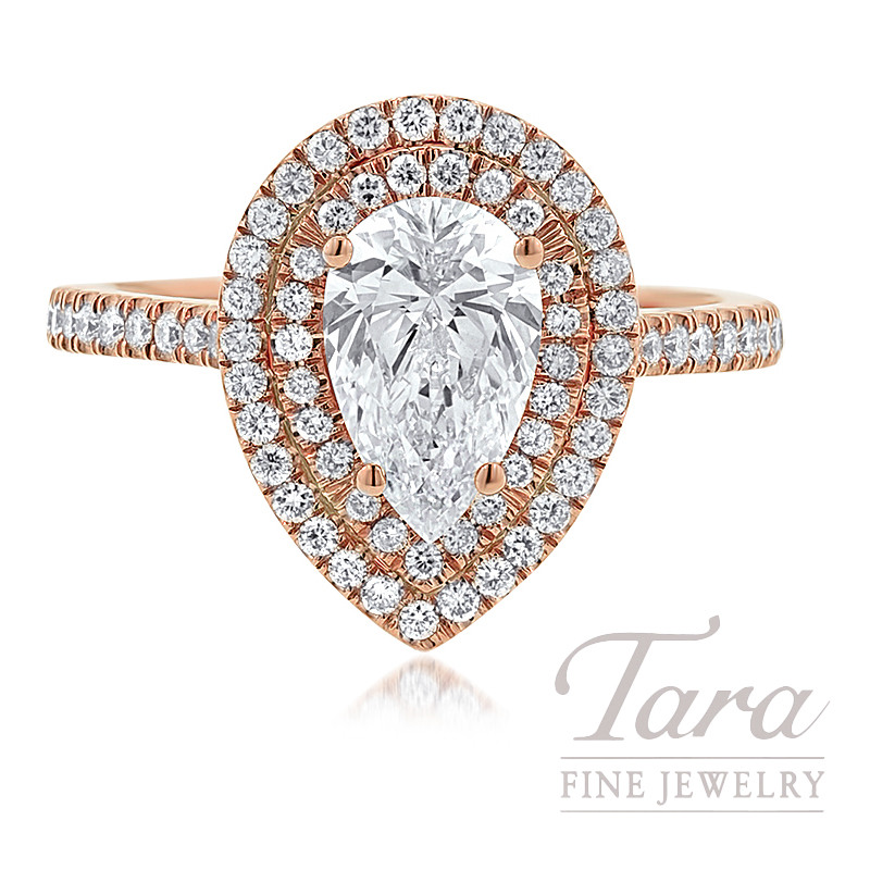 18K Rose Gold Double Halo Pear Shape Diamond Engagement Ring (Center Stone  Sold Separately