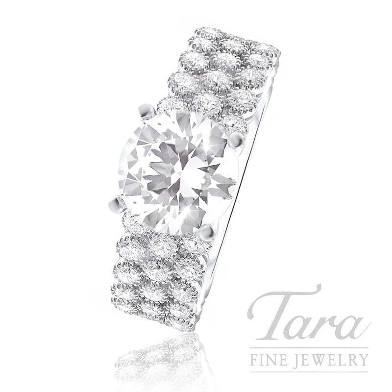 18K White Gold 3 Row Diamond Engagement Ring, 6.0G, 1.52TDW (Center Stone Sold Separately)