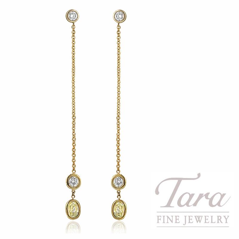 18K Yellow Gold Fancy Yellow Diamond Earrings, 2.4G, .79TW Fancy Yellow Diamonds, .16TW White Diamonds