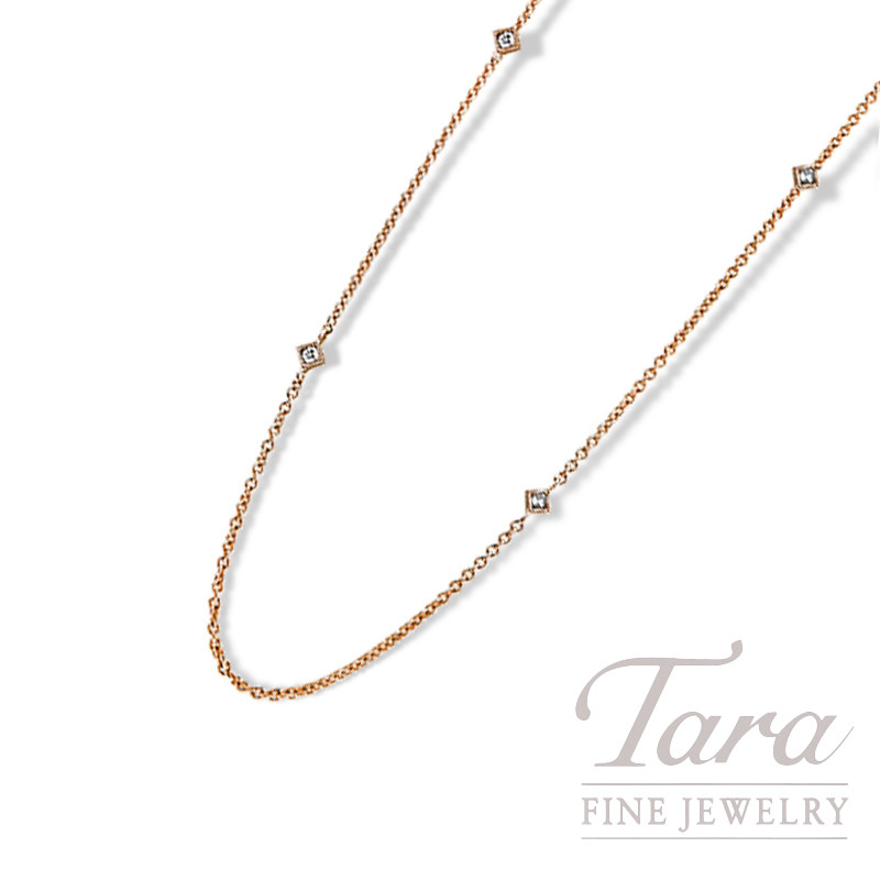 "18K Rose Gold Diamond Bezel Chain, 18"" Chain, 2.3G, .08TDW"