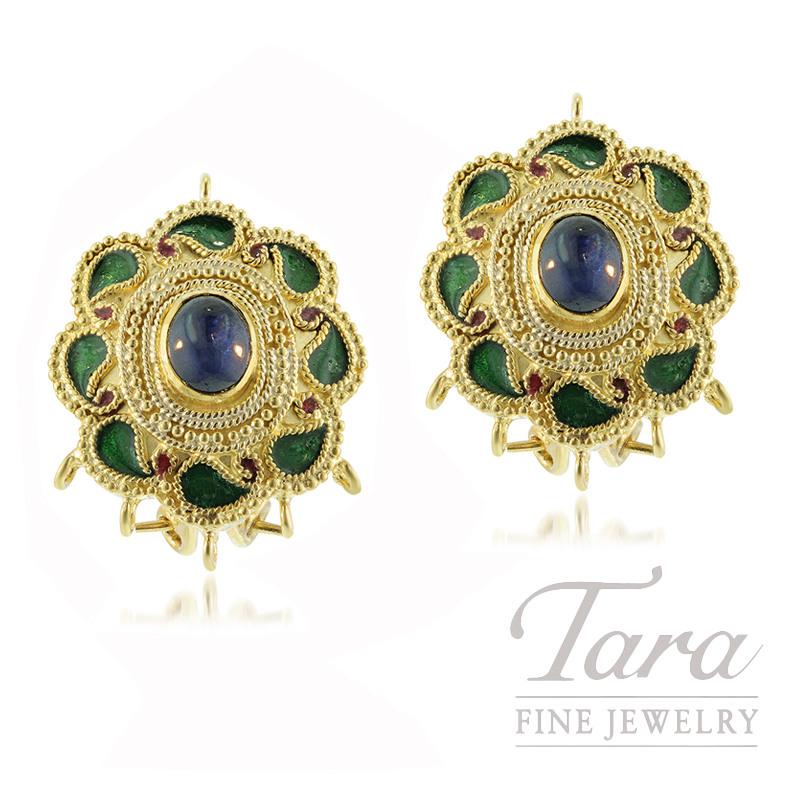 22K Yellow Gold Handmade Omega Earrings