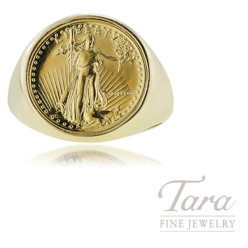 14K Yellow Gold Gents Coin Ring with 1/10 OZ American Eagle Coin