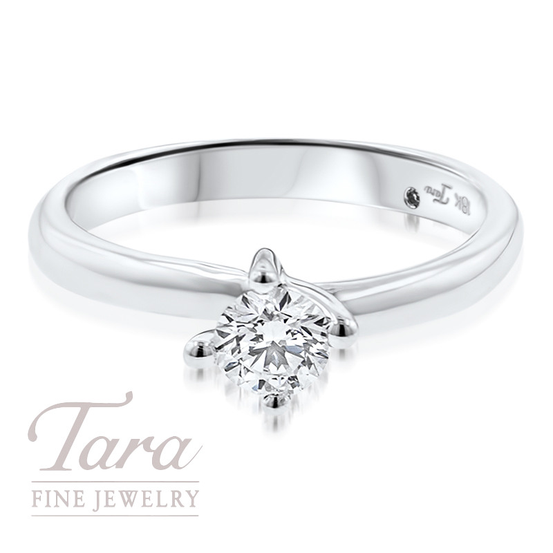 Diamond Solitaire Engagement Ring in 18K White Gold .44CT Center