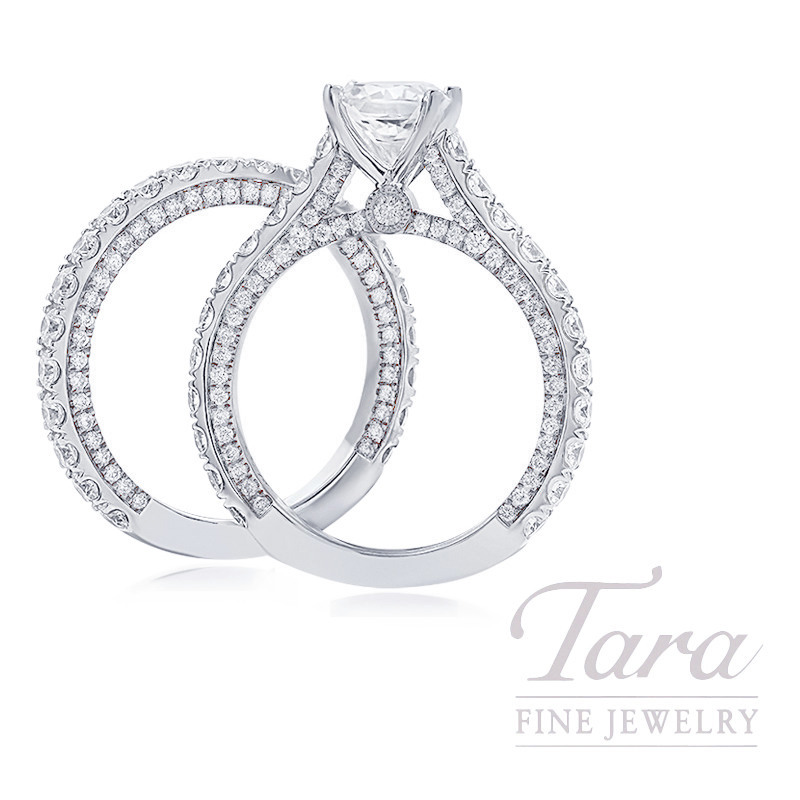 18k White Gold Diamond Wedding Set - Click for Available Sizes! (Center Stone Sold Separately)