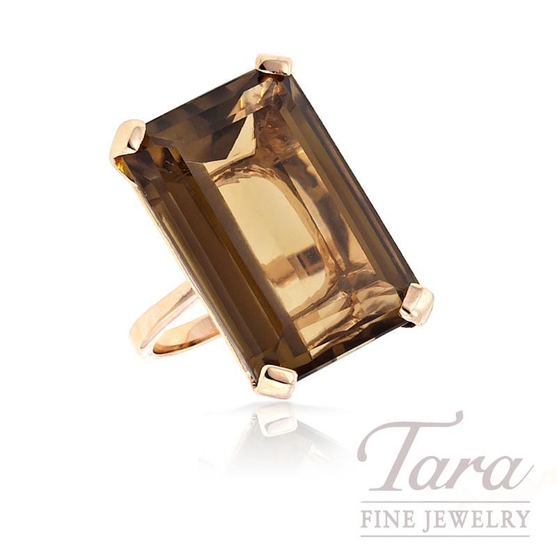 Smoky Quartz Ring in 18k Rose Gold, 12.5G