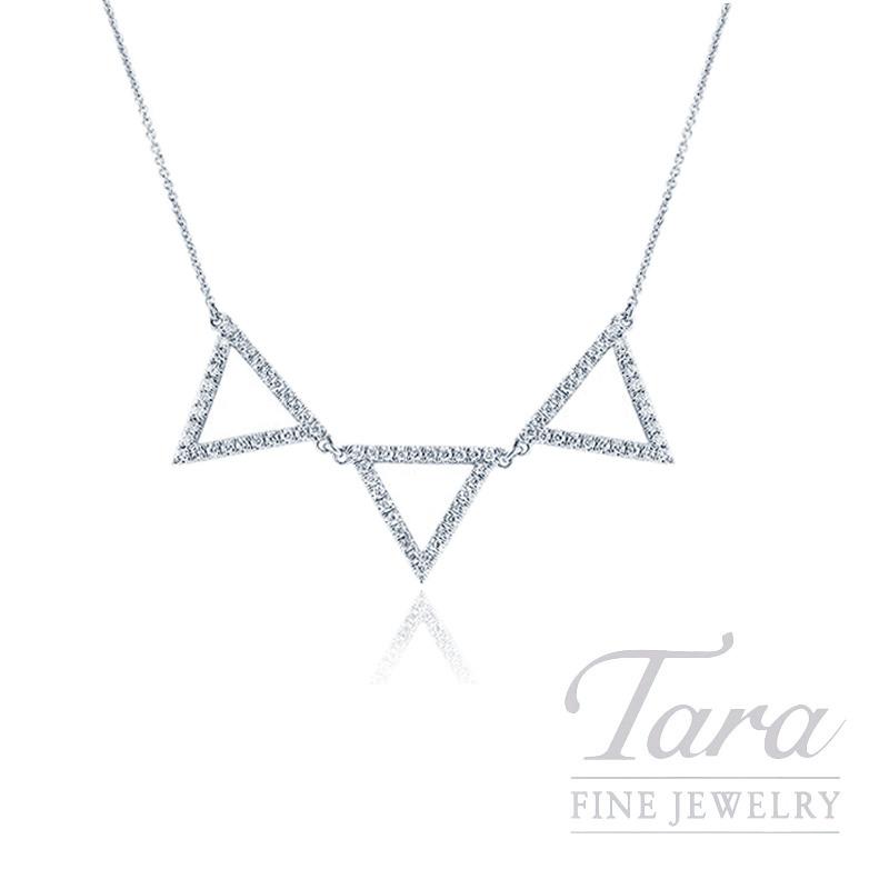"18K White Gold Diamond Triangle Necklace,16/18"" Chain, 4.7G, .51TDW"