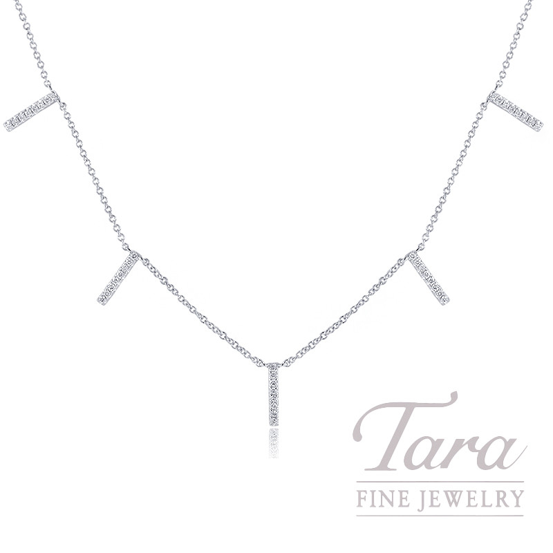 "18K White Gold Diamond Stationary Necklace, 16/17/18"" Chain, 2.6G, .22TDW"