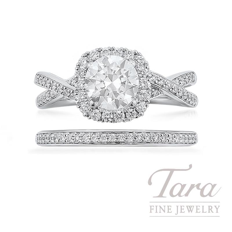 Simon G 18k White Gold Diamond Wedding Set, .38TDW (Center Stone Sold Separately)