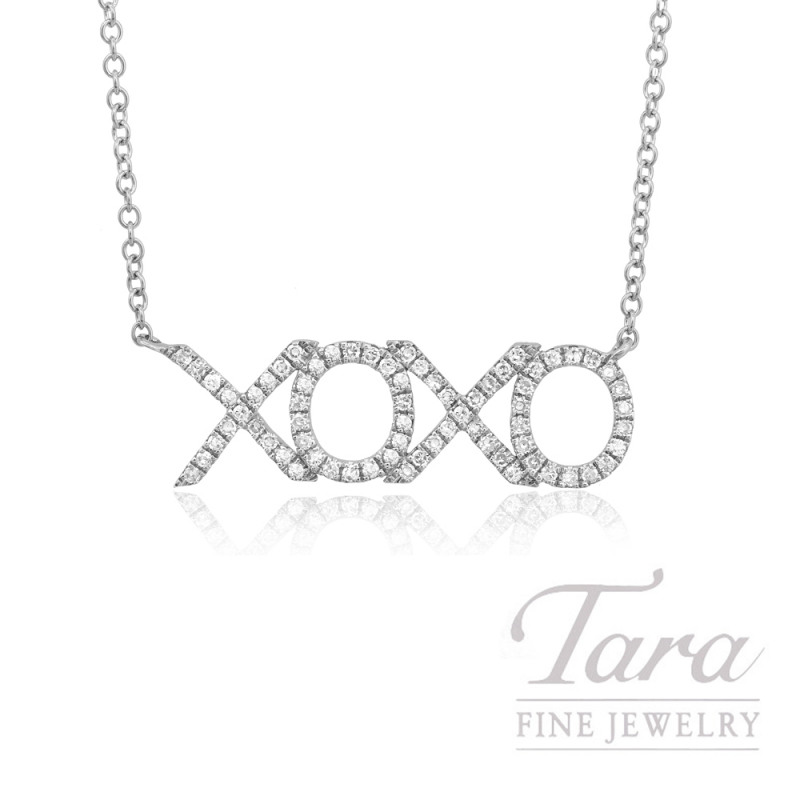 "14k White Gold ""XOXO"" Diamond Necklace, 16/18"" Chain, .19TDW"