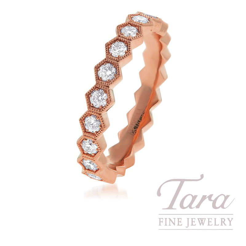 18K Rose Gold Diamond Stackable Band, .77TDW
