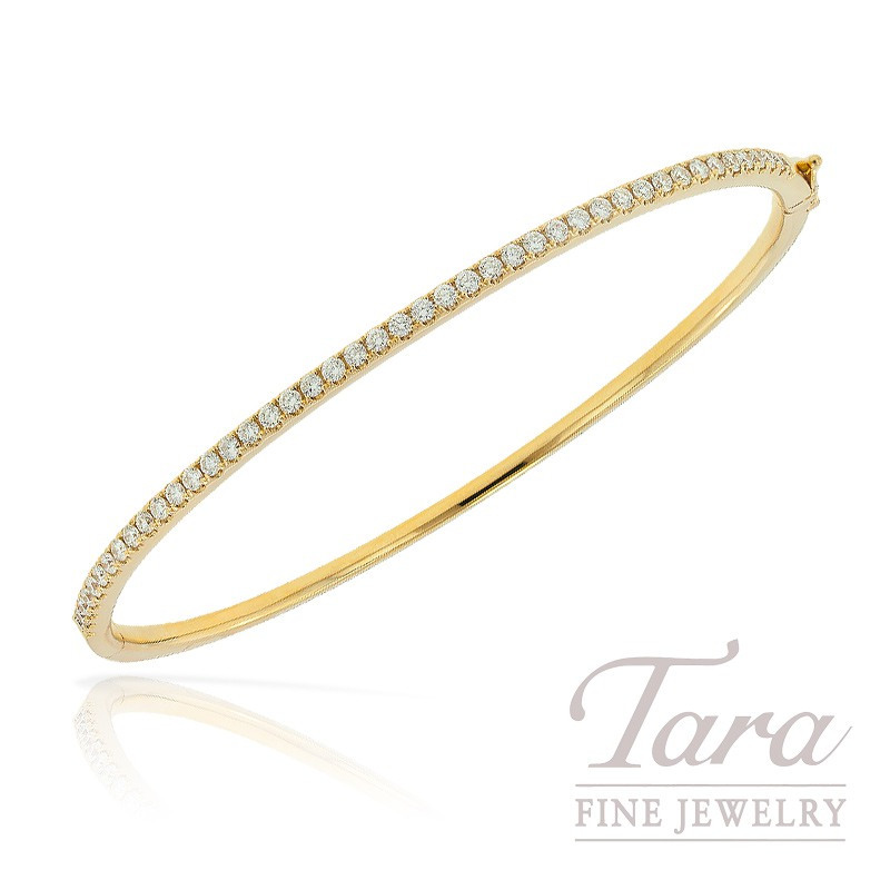 18k Yellow Gold Diamond Bangle Bracelet, .82TDW