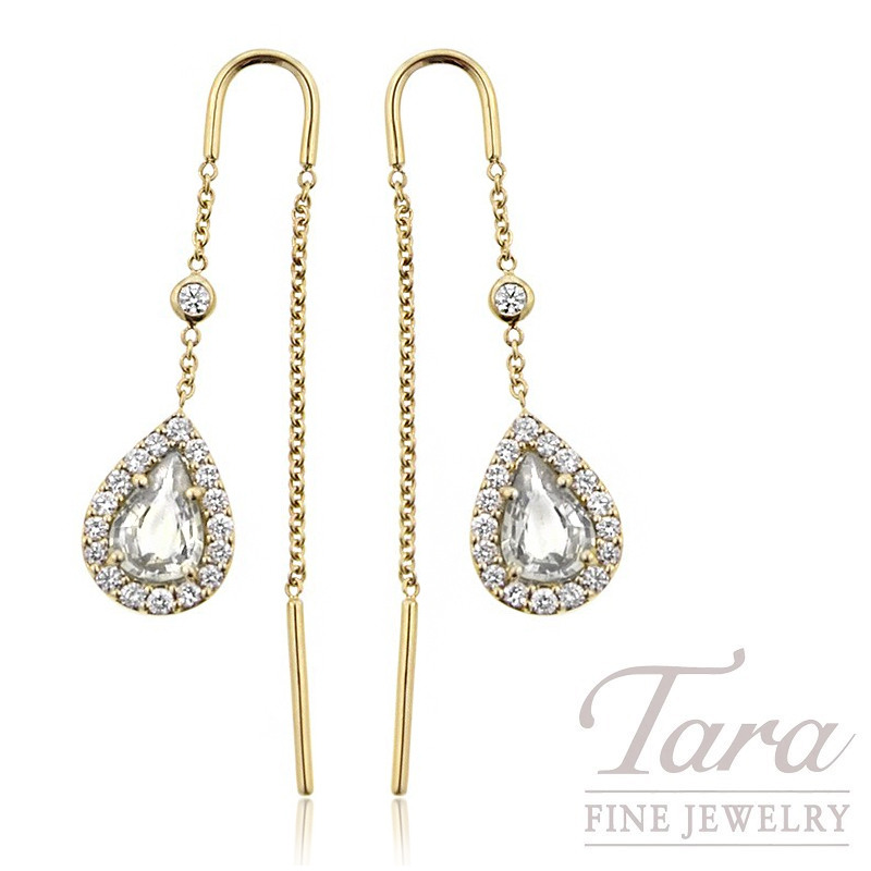 18K Yellow Gold Diamond Halo Theader Earrings, 2.1G, .99TDW