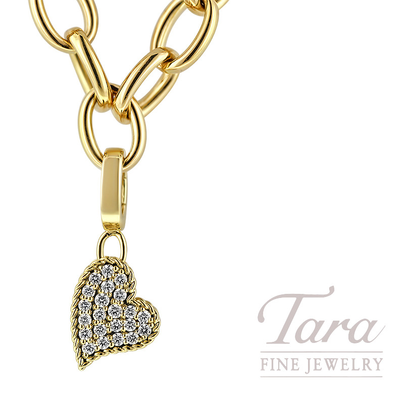 Roberto Coin 18K Yellow Gold and Diamond Heart Pendant; 23 Round Diamonds, 0.26TDW