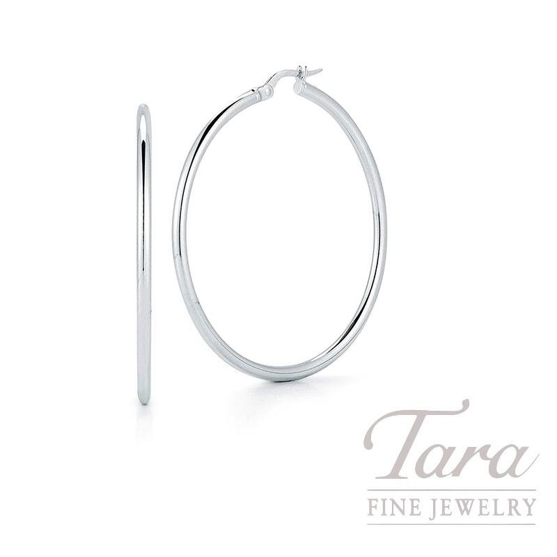 Roberto Coin 18k White Gold Classic Hoop Earrings 45mm 4 7g Tara