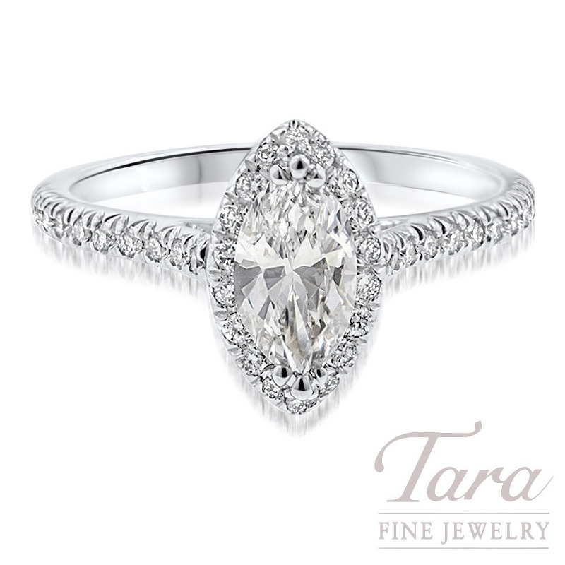 18k White Gold Marquise Diamond Halo Engagement Ring, 3.3G, .14TDW (Center Stone Sold Separately)