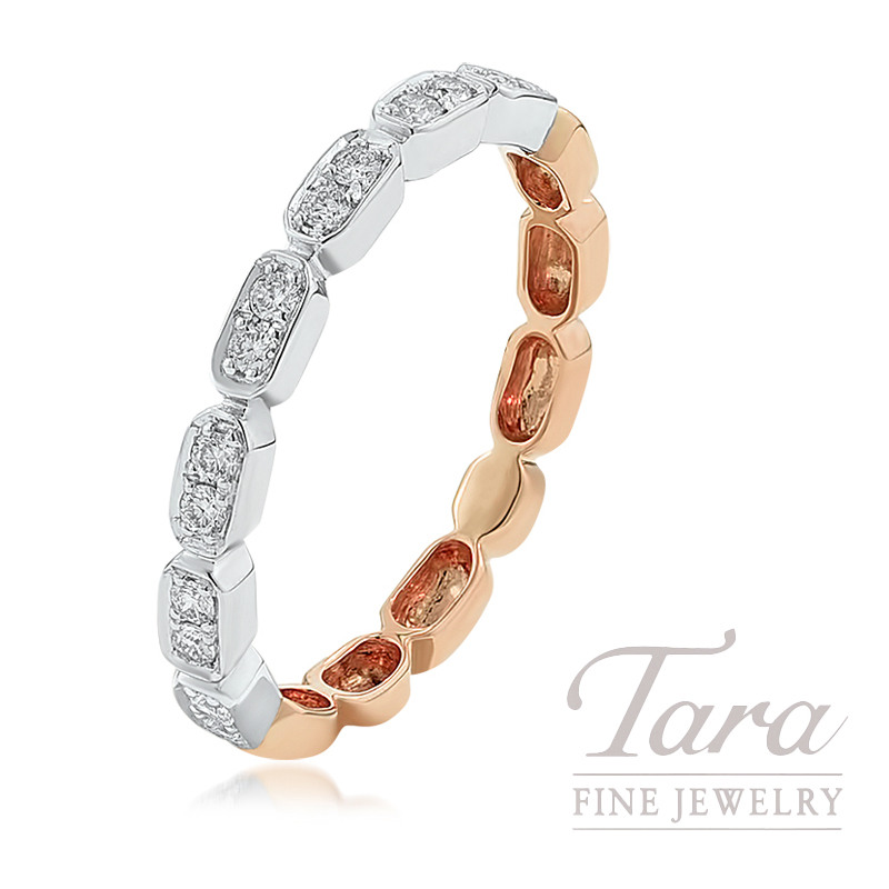 18K Rose Gold and White Gold Diamond Stackable Ring, 2.2G, .17TDW