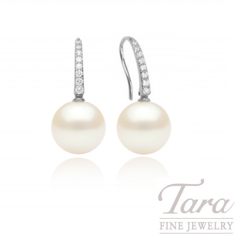 Pearl & Diamond Earrings in 18K White Gold, 9mm Pearl and .12 TDW