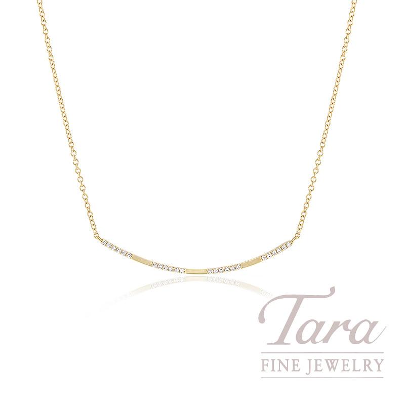 "18k Yellow Gold Diamond Necklace, 16/17/18"" Chain, 2.2G, .08TDW"