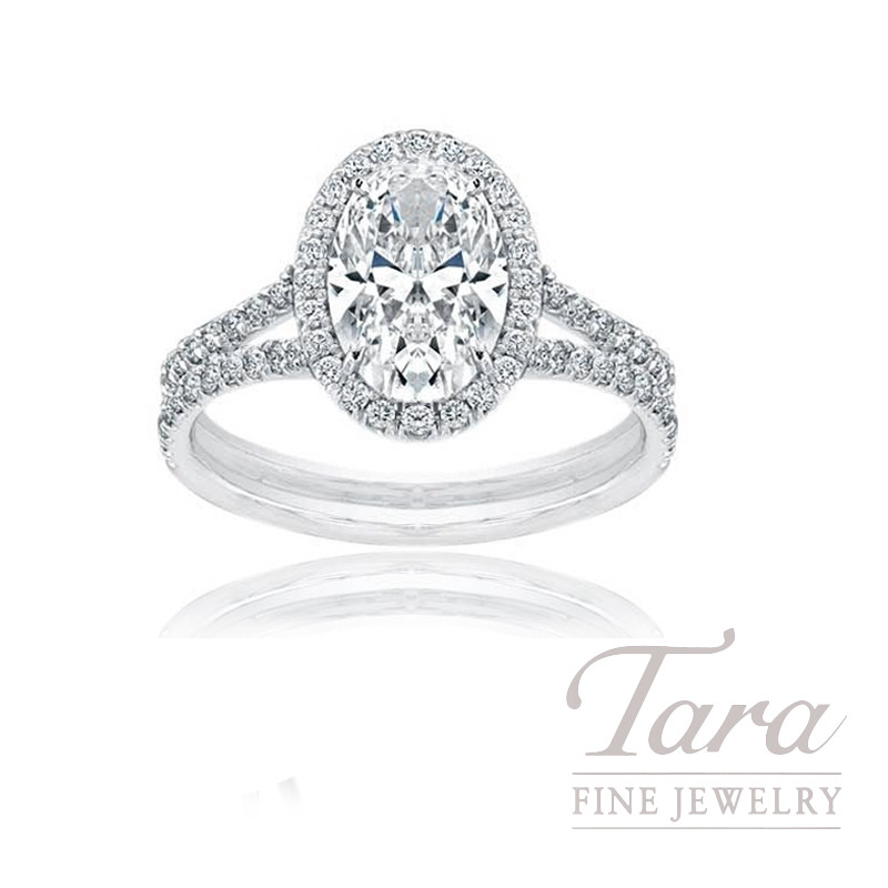 18K White Gold Oval Diamond Halo Engagement Ring, 3.5G, .47TDW (Center Stone Sold Separately)