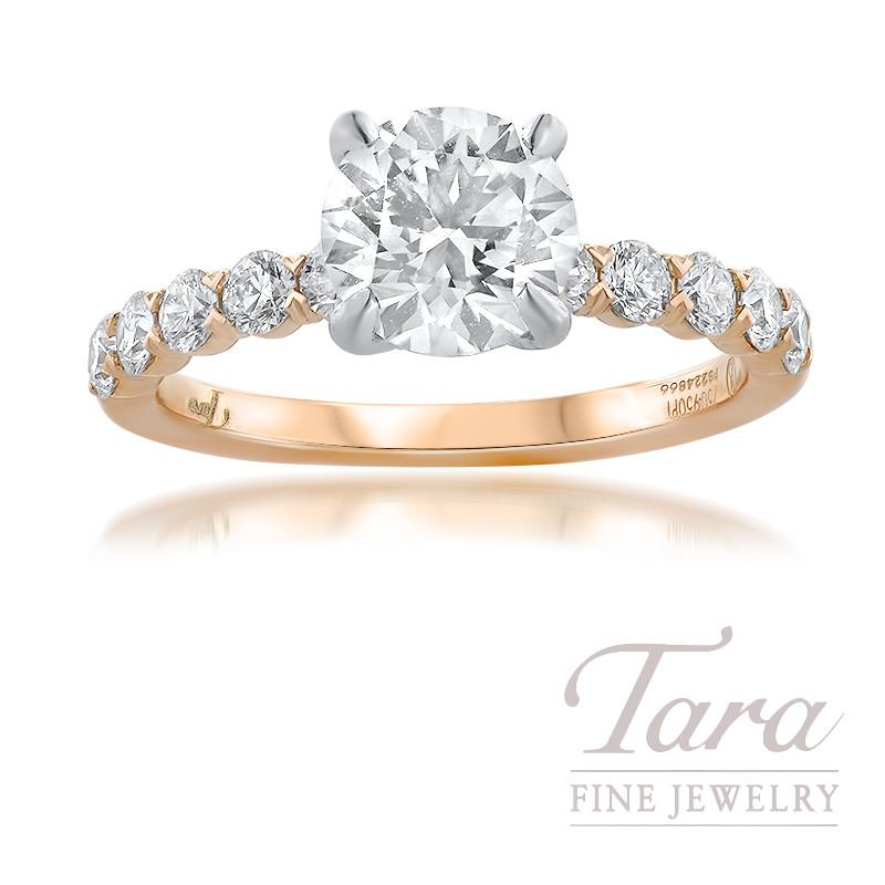 18K Rose Gold Semi Mount Diamond Engagement Ring; 22 Round Diamonds, 0.54TDW