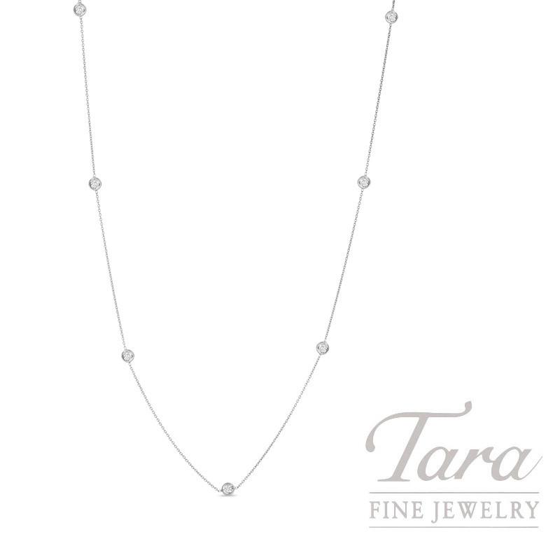 """Roberto Coin 18K White Gold Diamond Necklace 16"""" 7 Round Diamonds - 0.35TDW  2.5G"""
