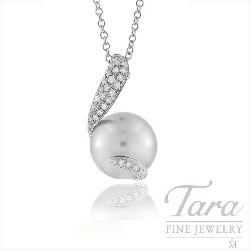 Mikimoto South Sea Pearl and Diamond Pendant with Chain in 18k White Gold,  .14tdw