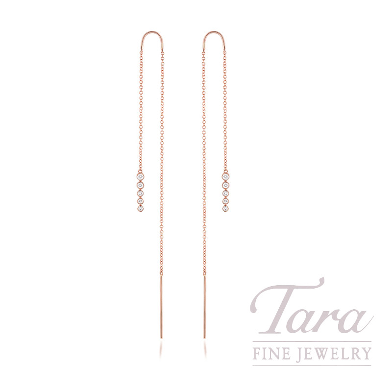 18K Rose Gold Diamond Bezel Threader Earrings, 1.6G, .21TDW