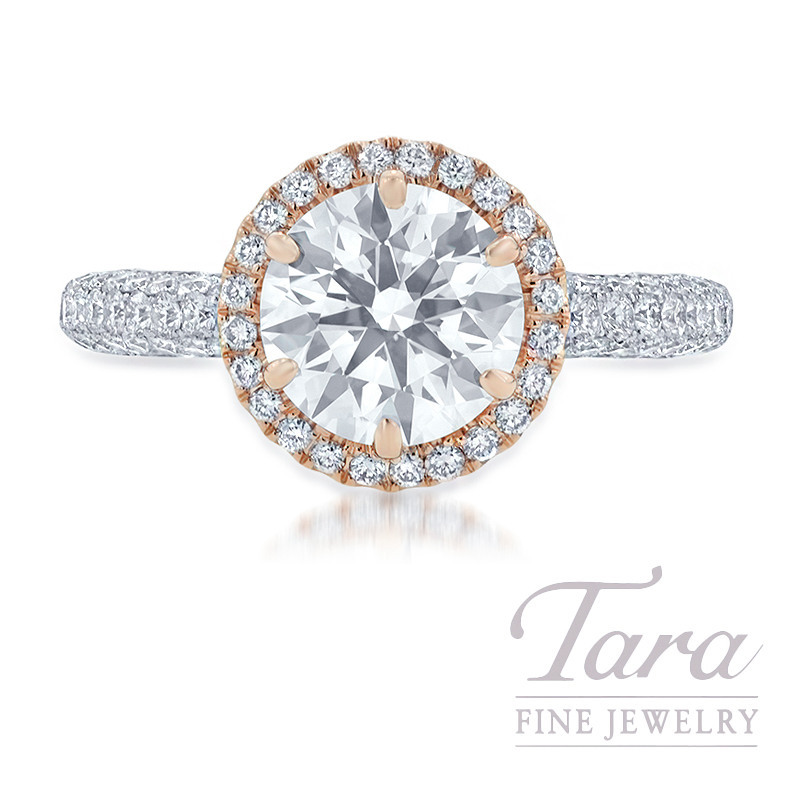 18K Rose Gold & White Gold Diamond Halo Engagement Ring, 2.03CT Forevermark Diamond, 6.2G, 1.32TDW (Center Stone Sold Separately)