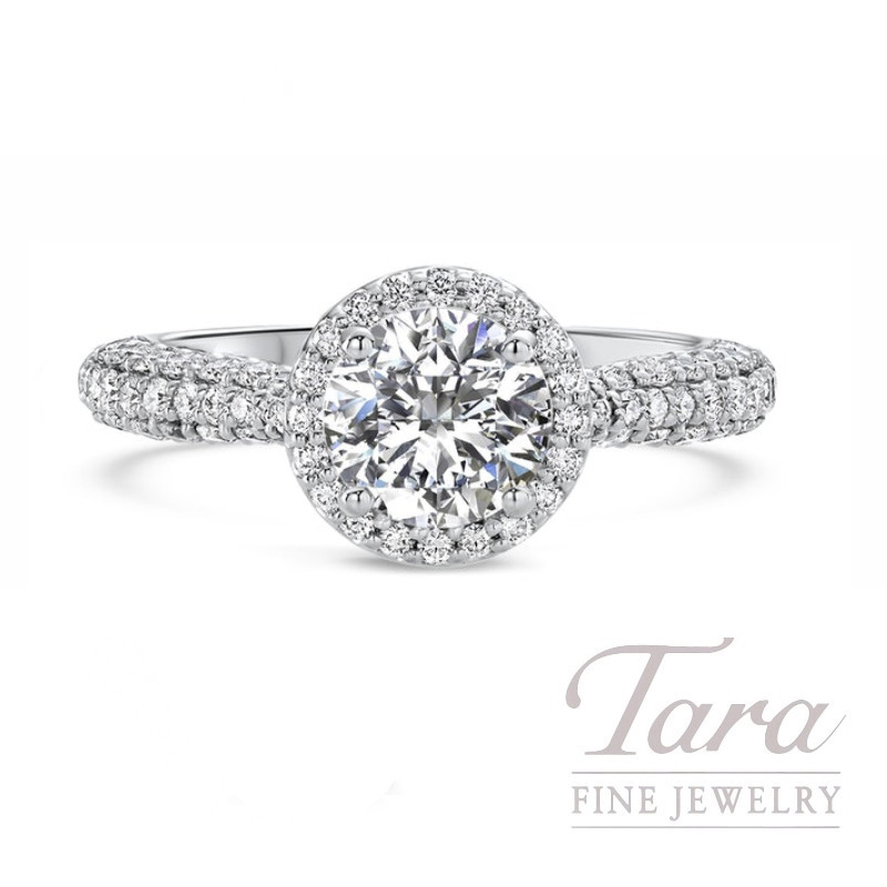 Ritani 18k White Gold Pave Diamond Halo Engagement Ring, 5.0G, .77TDW