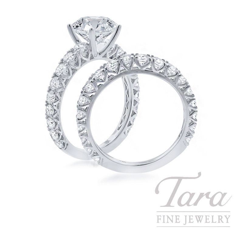 18K White Gold Diamond Wedding Set, 2.31TDW (Center Stone Sold Separately)