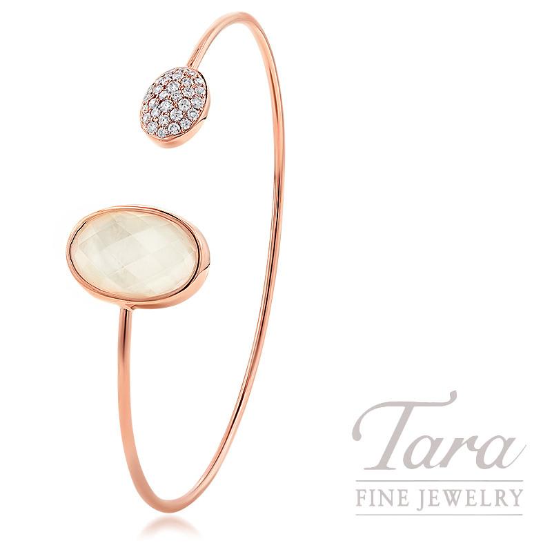18K Rose Gold Clear Quartz, Mother of Pearl, & Diamond Bracelet, 5.4G, .34TDW