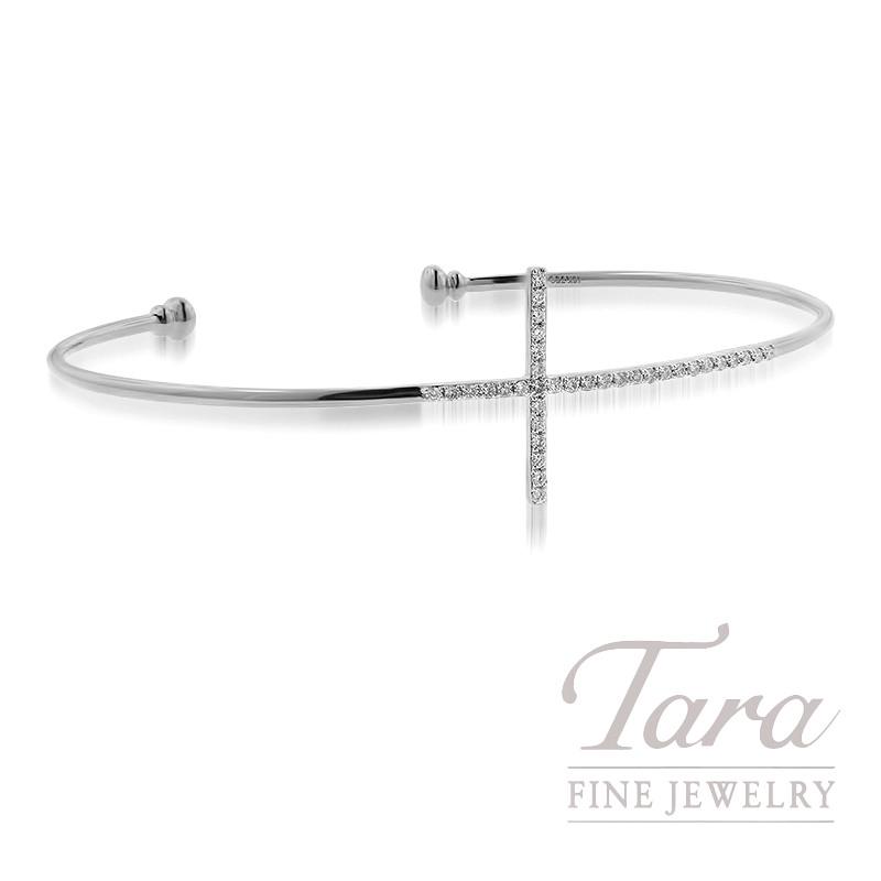 18k White Gold Diamond Cross Bracelet, 4.9G, .18TDW