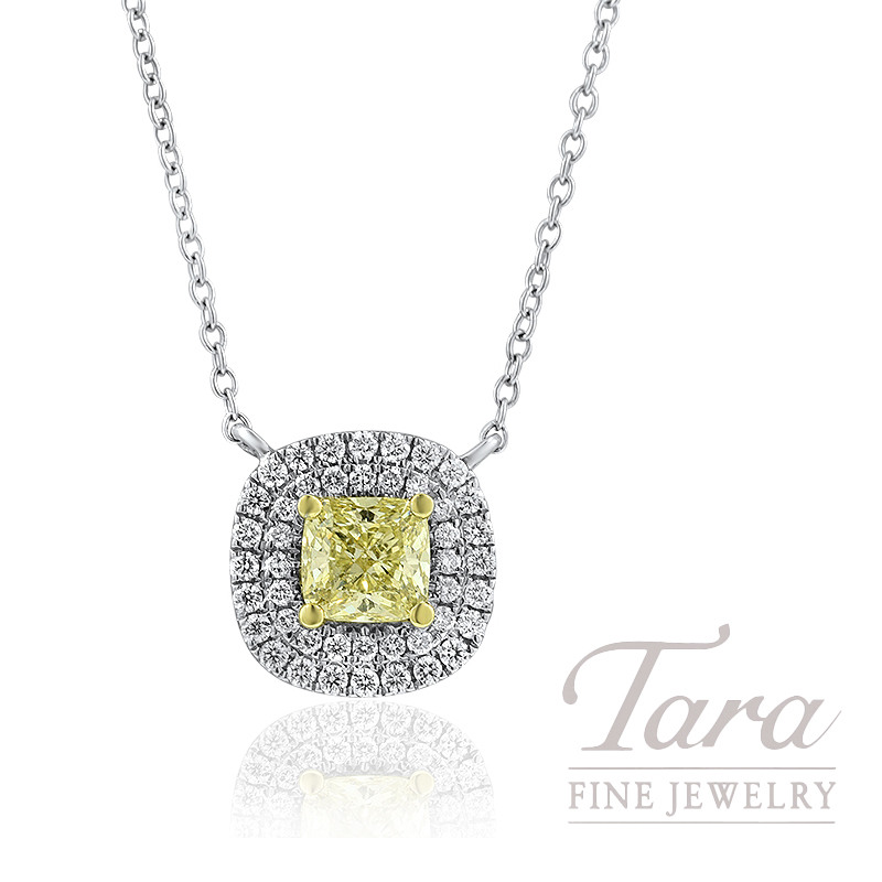 Forevermark 18K White Gold Fancy Yellow Diamond Pendant, .63CT Yellow Diamond, VS2, .24TDW
